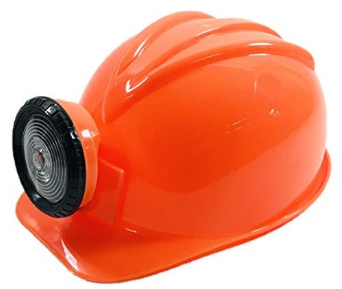 BUSDUGA 2826 Kinder Bauhelm orange mit LED-Stirnlampe