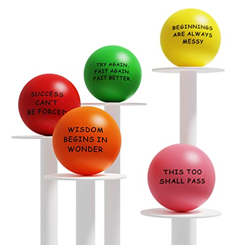 Lumarice Stress Balls(5 Pack), Stress Relief Ball with Motivational Quotes, Hand Exercise Balls Fidget Toys for Kids and Adults to Relieve Anxiety and Stress