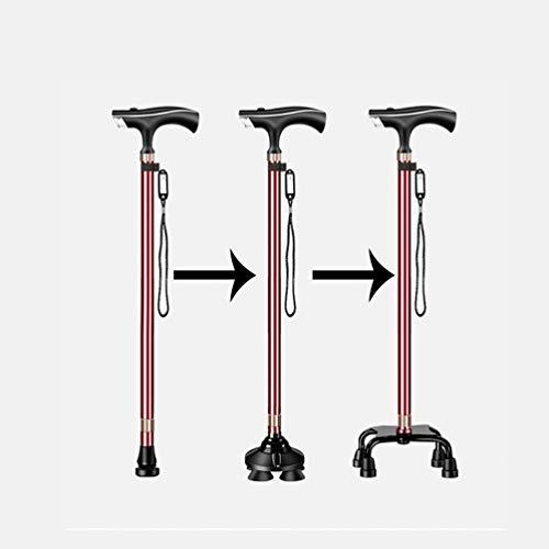 Uitschuifbare wandelstok met manico antiscivolo satinato ABS en dag anti-perso-klasse auto en piëdini in Gomma voor ouderen, rood