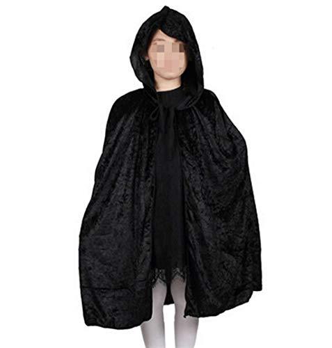 Fashion SHOP Capucha Red Black Hood Girl Boy Death Cloak Magician Witch Wizard Capa Cabo Toma Infantil Disfraz de Halloween para niños Niños Largo Capa con Capucha ( Color : Black )