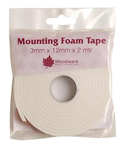 Woodware 3 mm Mounting Foam Tape, White, 14 x 10 x 1.2 cm