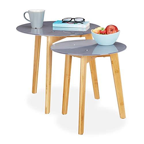 Relaxdays Set van 2 bijzettafels, bamboepoten, glazen tafelblad, decoratief patroon, sattafel, 40 & 50 cm Ø, grijs/natuur, 45 x 50 x 50 cm