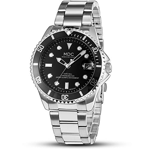 MDC - Reloj analógico de pulsera para hombre, resistente al agua, color plateado