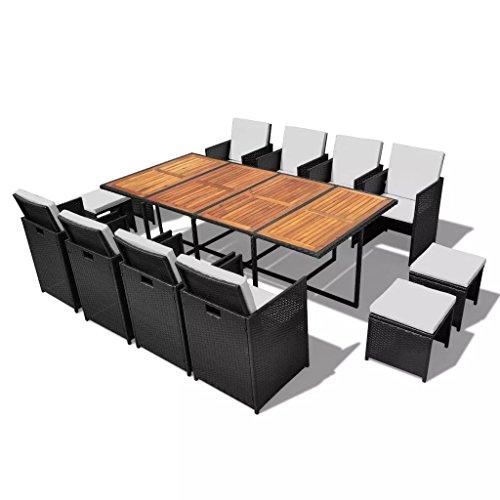 Lingjiushopping salle à manger de jardin 33 pièces Noir poli Rat ¨ ¢ n et bois acacia Material : Cadre en acier + rotin PE + dessus de bois d'acacia dure avec finition d'huile naturelle
