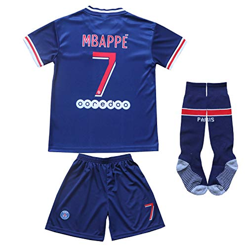 KID BOX Paris Home Football Soccer Kids Jersey Shorts Socks Set Youth Sizes (Mbappe Blue, 10-11 Years)