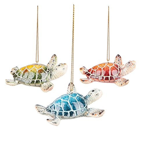 GALLERIE II Cozumel Mini Sea Turtle Christmas Xmas Ornament A/3 Tan