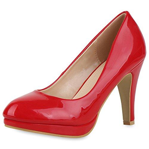 SCARPE VITA Klassische Damen Pumps Stiletto High Heels Lack Leder-Optik Schuhe 164510 Rot Lack 38