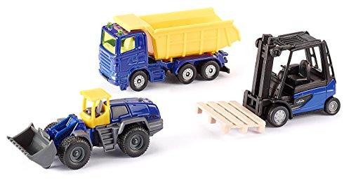SIKU 6305, Geschenkset - Hard Work, Metall/Kunststoff, Multicolor, Spielkombination, 3 Baustellen-Fahrzeuge und 1 Palette
