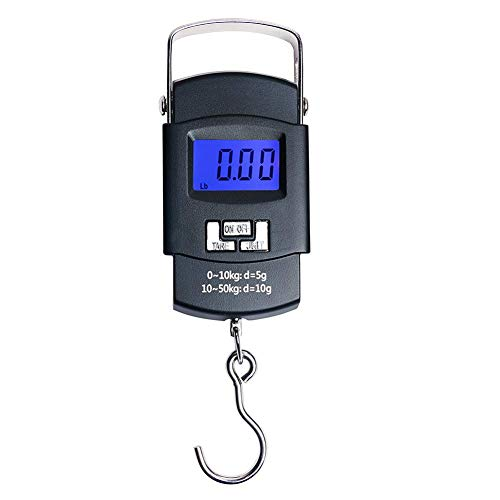 Emoly Portable Electronic Digital Hanging Fishing Scale with Backlit LCD Display, 110lb/50kg Weight Capacity (Not Batteries Included)