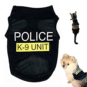 Dog T-Shirt Pet Police Dog Cat Clothes Summer Costumes Puppy Shirt, Breathable Outfits Vest Apparel for Extra Small Medium Doggy Boy and Girl (Black, Large)