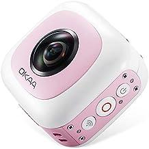 720°Panoramic Camera,OKAA Life 360 Panoramic Camera IP65 Waterproof with Dual Wide Angle Fisheye Lens (Pink),Aerial Photography/Motion Camera,Wi-Fi Camera