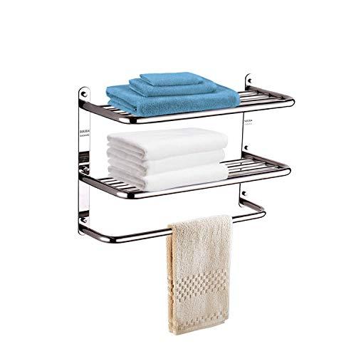 OAZAAAZ 23 Inch Polished SUS 304 Stainless Steel Bathroom Shelf, 3-Tier Wall Mounted Rack with Towel bar