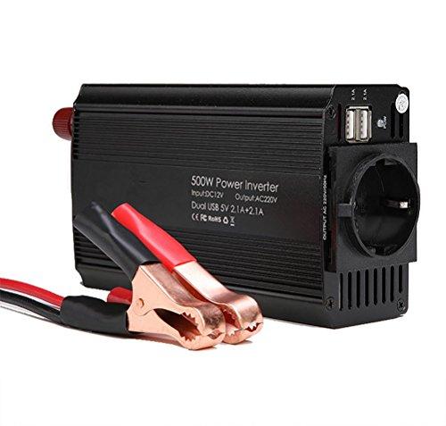 Qinuo omvormer DC 12V op AC 220-240V 500W inverter, spanningsomvormer auto sigarettenaansteker stekker, EU-stekkerdoos