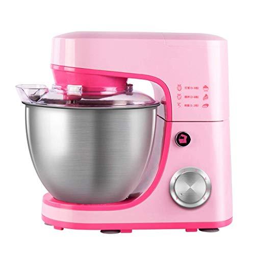 GJJSZ Kleiner Multifunktionsmischer für den Hausgebrauch,Eggbeater mit Edelstahlgehäuse,6-Fach verstellbar (Pink)