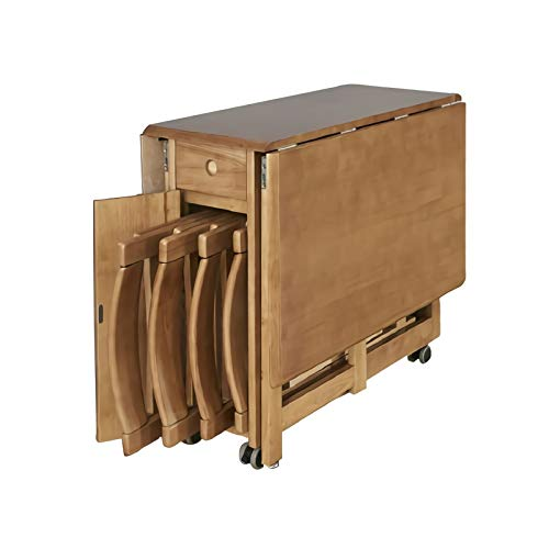 sknonr Sin Asamblea de Goma de Madera Plegable Mesa de Comedor, 5 Pieza Mesa de Comedor Bar Juego de Mesa de la Cocina con 4 sillas, cajones