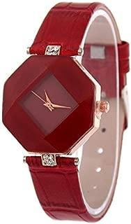 Fashion Watches Gem Cut Geometry Crystal Leather Quartz Wristwatch Fashion Watch for Ladies
