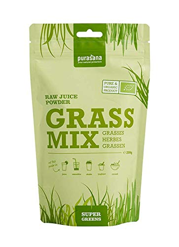 Purasana Bio Saftpulver Mix 200g Gerstengrassaft Weizengrassaft Luzernensaft Kamutsaft Hafergrassaft - Basenpulver komplett löslich