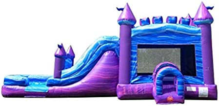 TentandTable Purple Marble Wet Dry Mega Bounce House Tunnel Front, Slide Climbing Wall Combo, Commercial Grade Inflatable, Blower Included