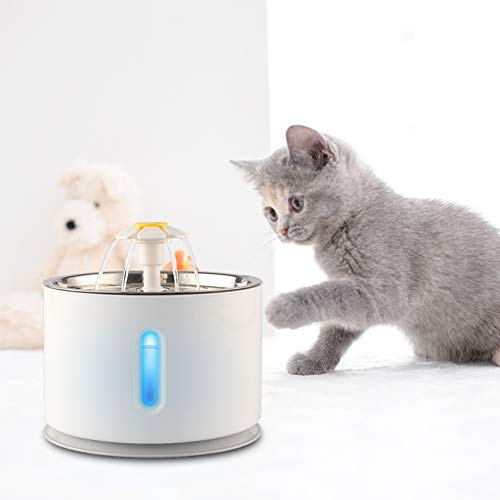 ELEOPTION Cat Fountain Stainless Steel Cat Dog Water Dispenser with Filters, 81oz/2.4 L Automatic Electric Water Bowl, Drinking Fountain for Dogs, Cats, Multiple Pets