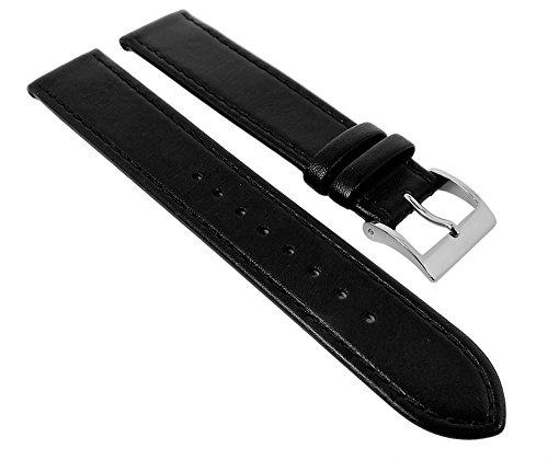Junghans MAX BILL Ersatzband Uhrenarmband Leder schwarz 17mm 027/3700