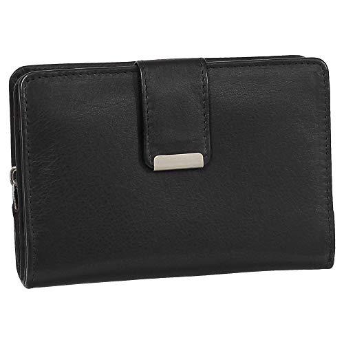 RFID Damen Leder Geldbörse Damen Portemonnaie Damen Geldbeutel - Farbe schwarz - Geschenkset + exklusiven Ledershop24 Schlüsselanhänger
