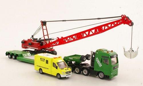 MAN Schwertransporter, Kübler, mit Liebherr Seilbagger und Mercedes Begleitfahrzeug, Modellauto, Fertigmodell, Siku 1:87