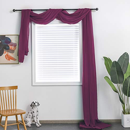 TOAVA DECO Plum Sheer Window Scarf Valance for Windows Plum Sheer Scarf Curtains 216 Inches Long for Living Room Bedroom Curtain Drapes Wedding Party Canopy Bed 52×216