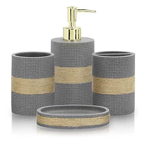 MyGift Juego de 4 piezas de accesorios de baño con dispensador para jabón, soporte para cepillo de dientes, vaso y jabonera. Este set tiene tonalidad gris y cuerda de yute integrada.