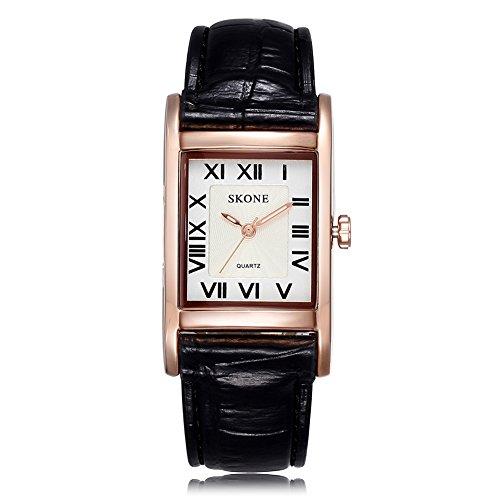Las mujeres Skone color negro piel banda roma números cuarzo relojes oro Rectangle Caso Dial de color blanco 505803