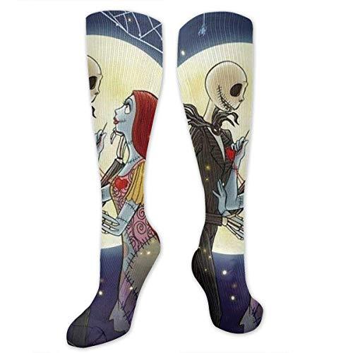 Calcetines de Jack y Sally enamorados Pesadilla antes de Navidad Calcetines atléticos sobre la pantorrilla - Calcetines de fútbol de compresión alta hasta la rodilla unisex Calcetines de vestir