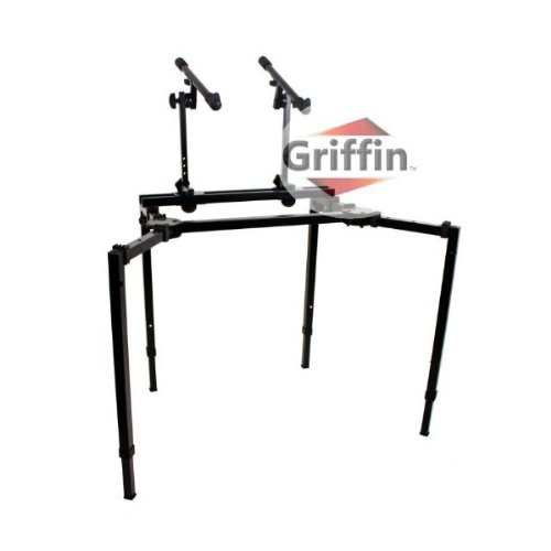 Double Piano Keyboard & Laptop Stand by GRIFFIN | 2 Tier/Dual Portable Studio Mixer Rack for Turntables, DJ Coffins, Speakers, Digital Audio Gear & Music Equipment | Folding Stage Mount Multi Platform