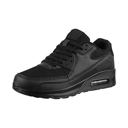Elara Damen Herren Sneaker Sport Laufschuhe Turnschuhe Chunkyrayan H001-Z001 Black-41