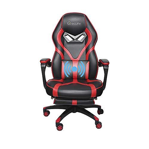 Computer Stuhl Racing Recliner Bürostuhl- Ergonomischer höhenverstellbarer Gaming Stuhl, mit hoher Rückenlehne und Kopfstütze Lordosenstütze Leder Atmungsaktiver Schalensitz Schreibtisch Massage (Rot)