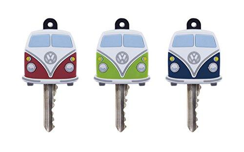 Brisa VW Collection - Volkswagen Furgoneta Hippie Bus T1 Van Juego de 3 Cubre Llaves de PVC, Tapas de LLlave para Protección y Identificación, Identificador, Accesorios de Coche/Idea de Regalo