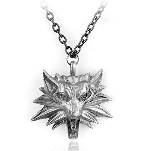 YTO The Witcher 3, Wild Hunt, Colgante de Cabeza de Lobo de aleación de Zinc, Colgante de Collar para Hombre(Color:Black Eyes)