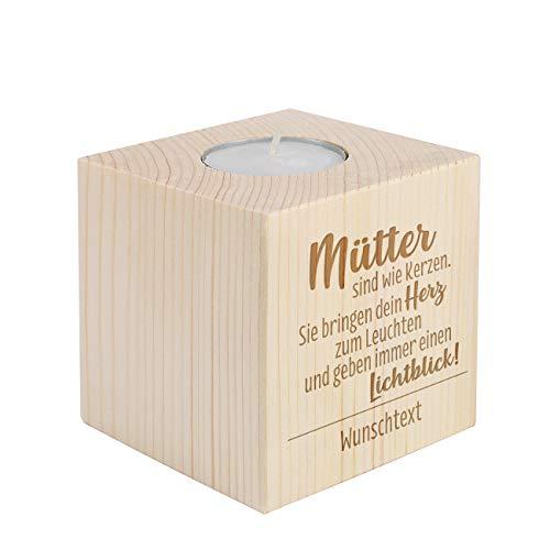 Herz & Heim® Kerzenständer mit Gravur für Teelicht für die Mama zum Muttertag oder Geburtstag Mütter sind wie Kerzen