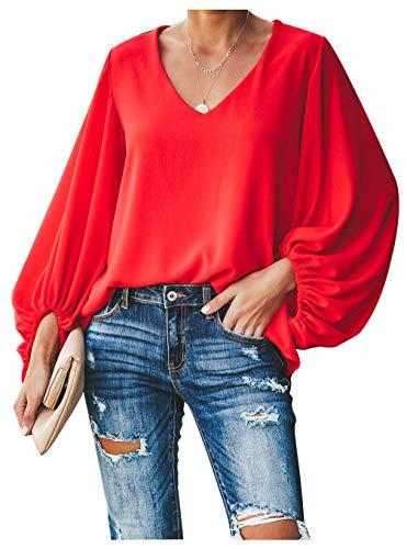 Botanmu Tamaño Extra Suelto de Mujer Camiseta de Manga Larga de Gasa Blusa de Manga Larga Blusas de Gasa Camiseta 4 Colores (Rojo)