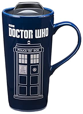 Blue Dr. Who Large Ceramic To Go Cup With Lid