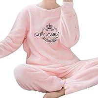 秋冬女性パジャマセットパジャマパジャマスーツ厚く暖かい珊瑚フランネルネグリジェ女性漫画動物