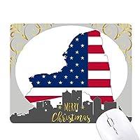 米国のマップニューヨーク星とストライプの旗の形 クリスマスイブのゴムマウスパッド