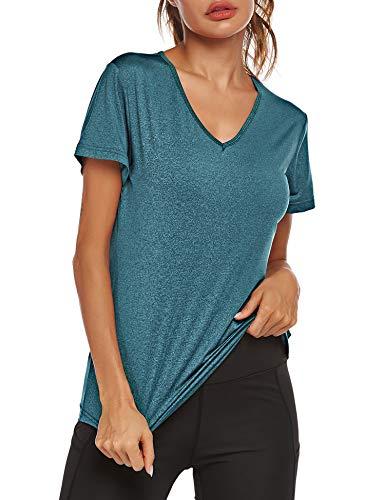 Parabler, maglietta sportiva da donna, traspirante, a maniche corte, scollo a V, per corsa, yoga, fitness, corsa, Donna, Blu reale, XXL