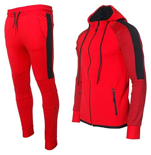 Herren Jogginganzug Trainingsanzug Männer Sportanzug Fitness Outfit Streetwear Tracksuit Jogginghose Hoodie-Sporthose Jogging-Hose Jogger Sportkleidung Slim Fit Modell 1121C-JK (Rot, 2XL)