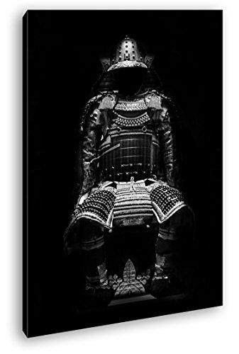 Dark Goldene Samurai Armadura Efecto: Negro/Blanco Como Lienzo, diseño enmarcado en marco de madera, impresión digital de alta calidad con marco, no es un póster o cartel, lona, 80x60