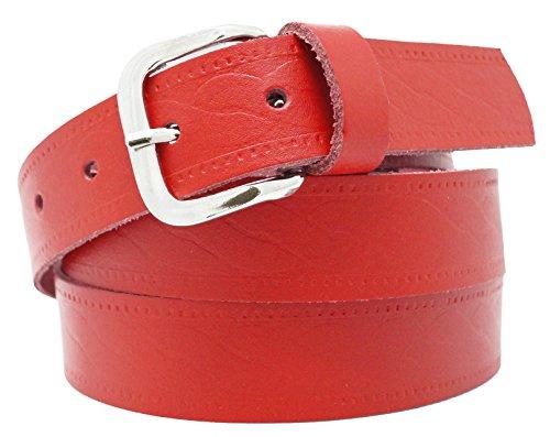 Cinturón de Cuero Real para Mujeres y Hombres - Ancho 3 cm - Negro/Marrón/Rojo/Blanco/Gris/Burdeos (125cm, Rojo2)