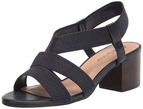 Bella Vita Women's Block Heel Sandal Heeled, Navy Textured Gore, 7.5 X-Wide