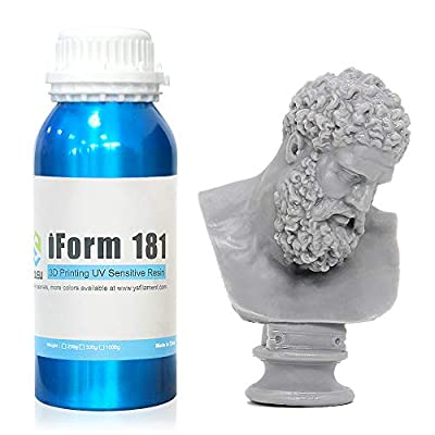 iForm LCD 3D Printer Resin, Standard photopolymer for 405nm UV Curing Light, High Resolution & Reliable for Most Printer, 500g, Color Gray, iForm 181, from Yousu