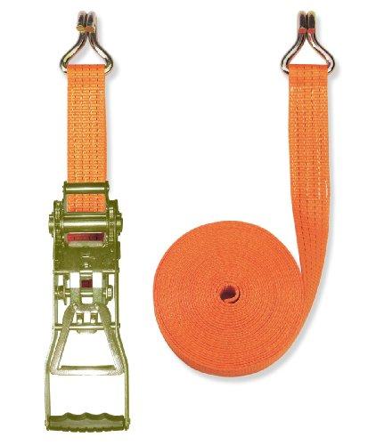 Braun Spanngurt 4000 daN, zweiteilig, für Profis, nach DIN EN 12195-2, Farbe orange, 10 m Länge, 50 mm Bandbreite, mit Ergo-Ratsche und Spitzhaken