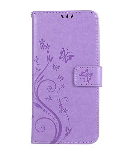 Homikon - Funda de piel sintética con diseño de mariposa, con tarjetero y cierre magnético, compatible con Samsung Galaxy S5/S5 Neo, color morado claro