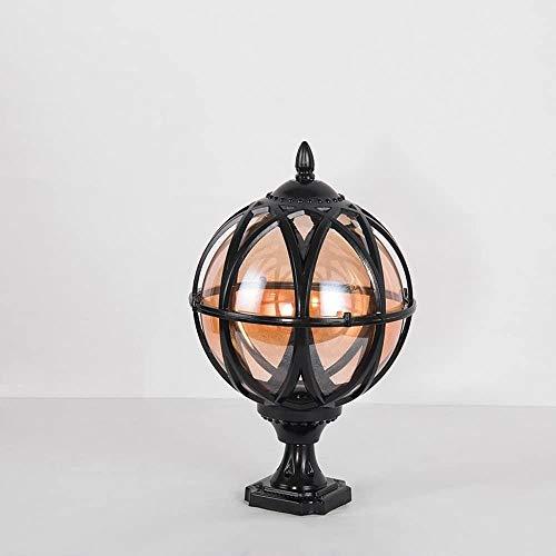 Popertr IP54 impermeable fundido a presión aluminio poste luz de cristal al aire libre e27 jardín columna lámpara de aluminio globo paisaje iluminación lujo lujo (Color : Negro)
