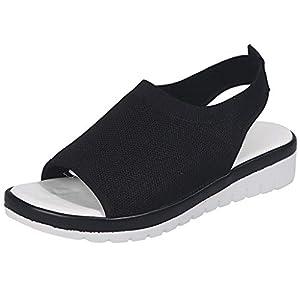 YWLINK Zapatos Mujer CuñA Moda TamañO Grande Transpirable con Malla Tejida Volando Zapatos Casuales Sandalias Fiesta En La Playa Antideslizante CóModo Verano del DíA De Miembro(Negro,37EU)